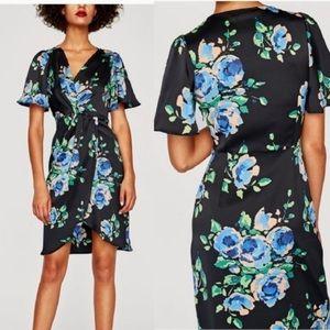 Zara Black Floral V Neck Faux Wrap Dress